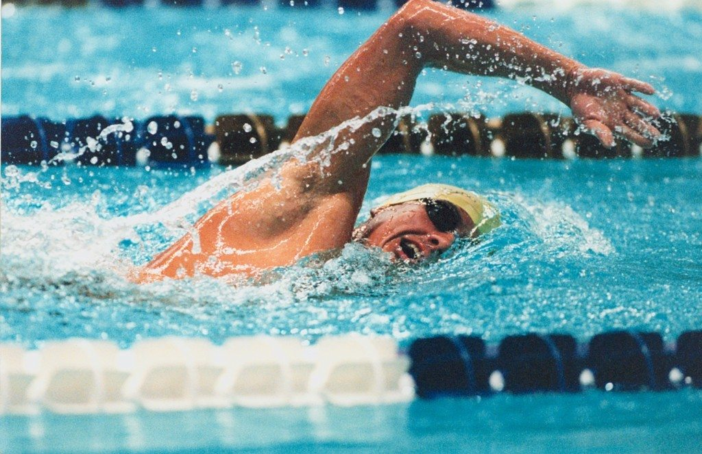 Australian S12 swimmer Jeff Hardy swims freestyle at the 1996 Atlanta Paralympic Games