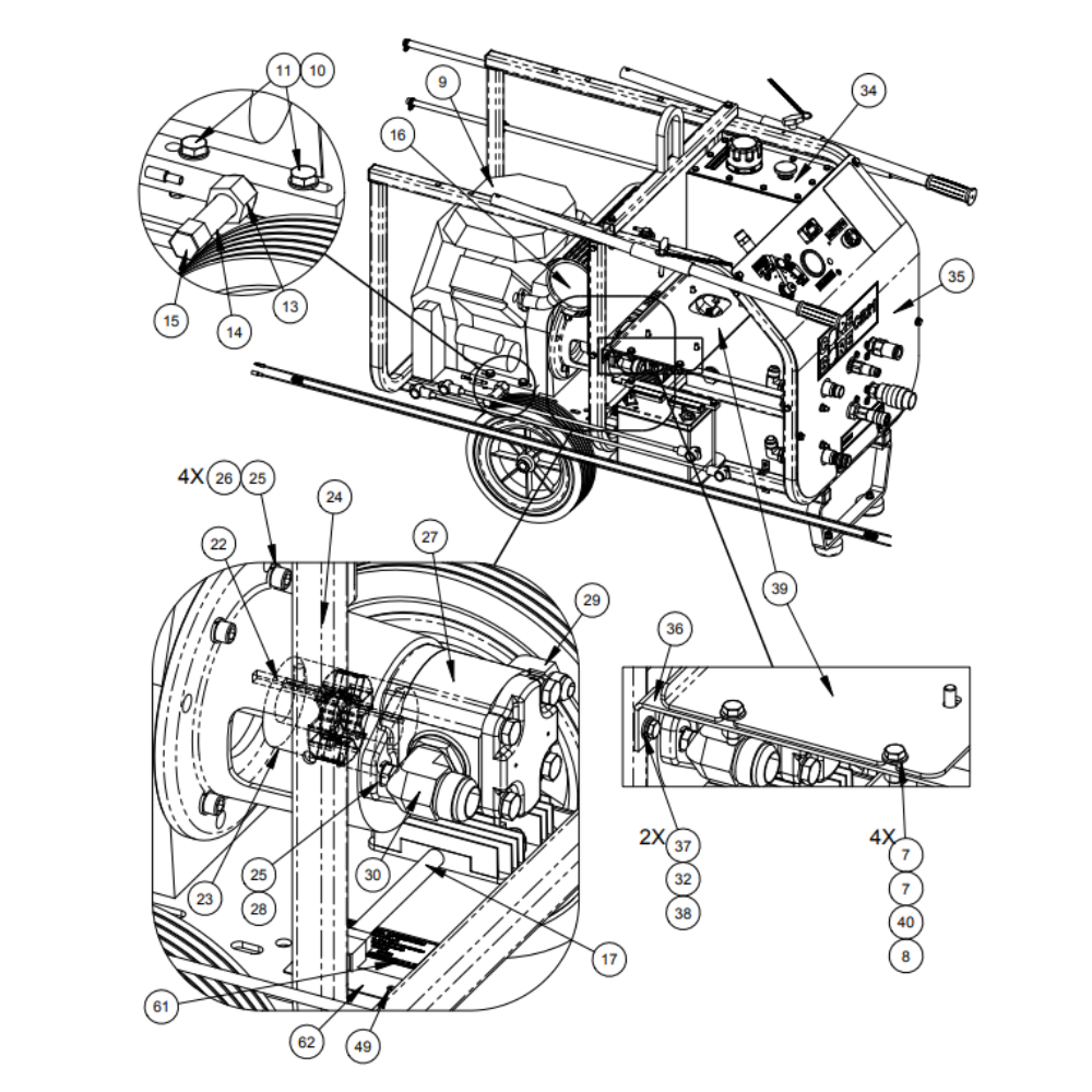 CB21HXL Diamond Products Hydraulic Gas Power Unit Parts