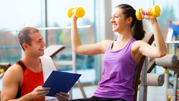 Exercise with a personal trainer