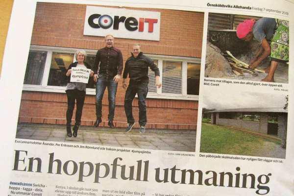 CoreIT i Örnsköldsvik Allehanda där vi hoppar för Jimba.