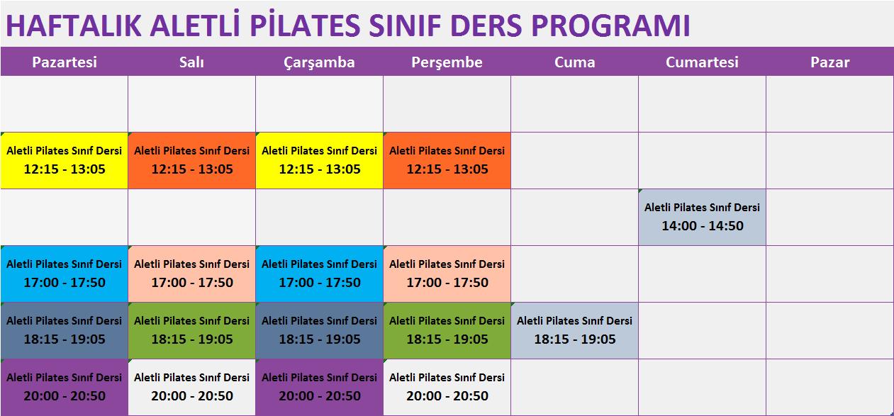 Corelabpilates Ders Programı
