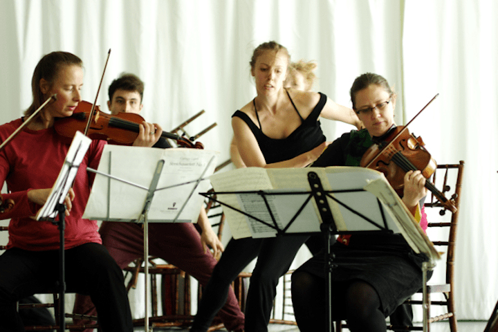 Speaking in Ligeti orchestra and dancers
