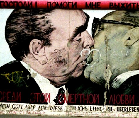 The Kiss, Berlin Wall, East German leader Erich Honecker and Soviet leader Leonid Brezhnev, Berlin, Germany, 1994