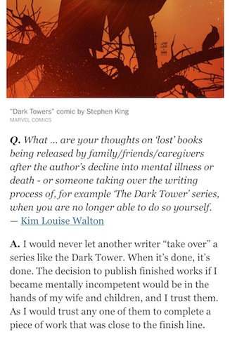 Stephen King to NYT reader: Once it's done, it's done.