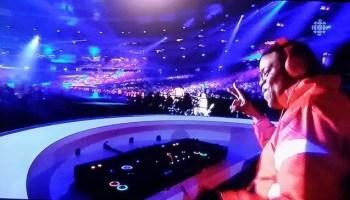 Orin Isaacs DJs at the 2015 Pan Am Games closing ceremonies. Screenshot by Dawn Langfield