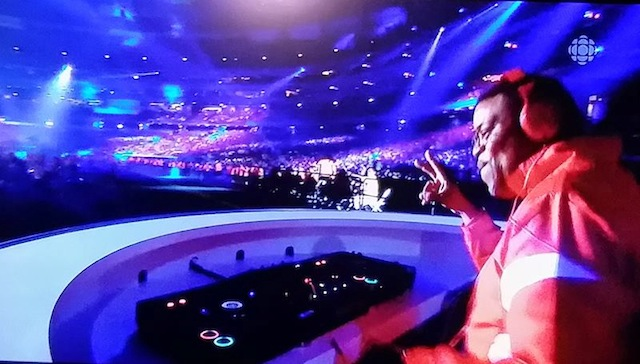 Orin Isaacs DJs at the 2015 Pan Am Games closing ceremonies. Screenshot by Dawn Langfield