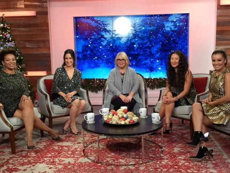 A Jann Arden Christmas at The Social co-hosts Traci Melchor, Cynthia Loyst, Jann Arden, Lainey Lui and Melissa Grelo on set. Photo by Cherryl Bird