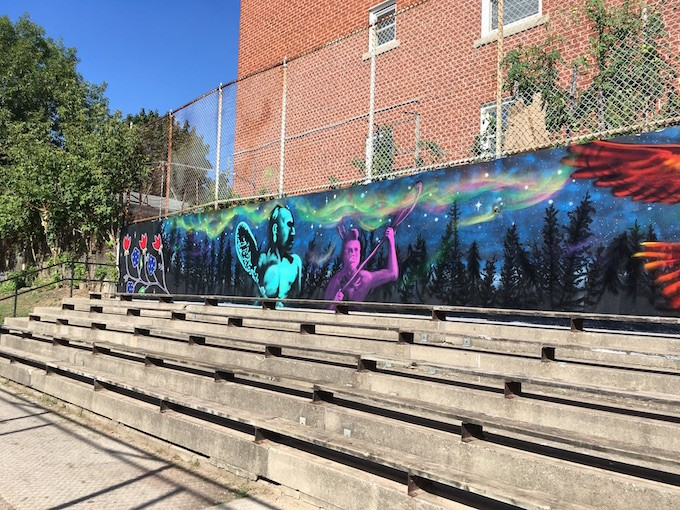 A 90-ft mural at Ravina Gardens, North of High Park in Toronto