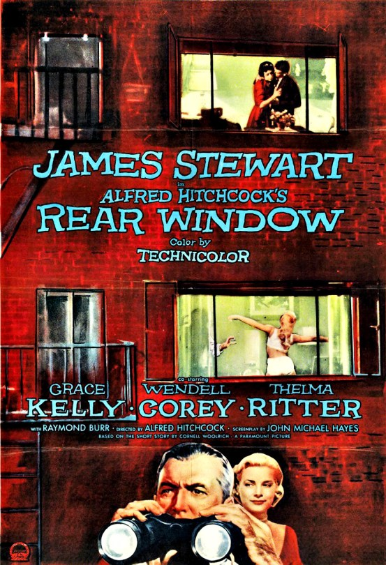 Various scenes through windows of an apartment building, movie credits and a couple with binoculars.