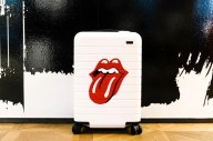 The Rolling Stones red tongue logo on a white suitcase
