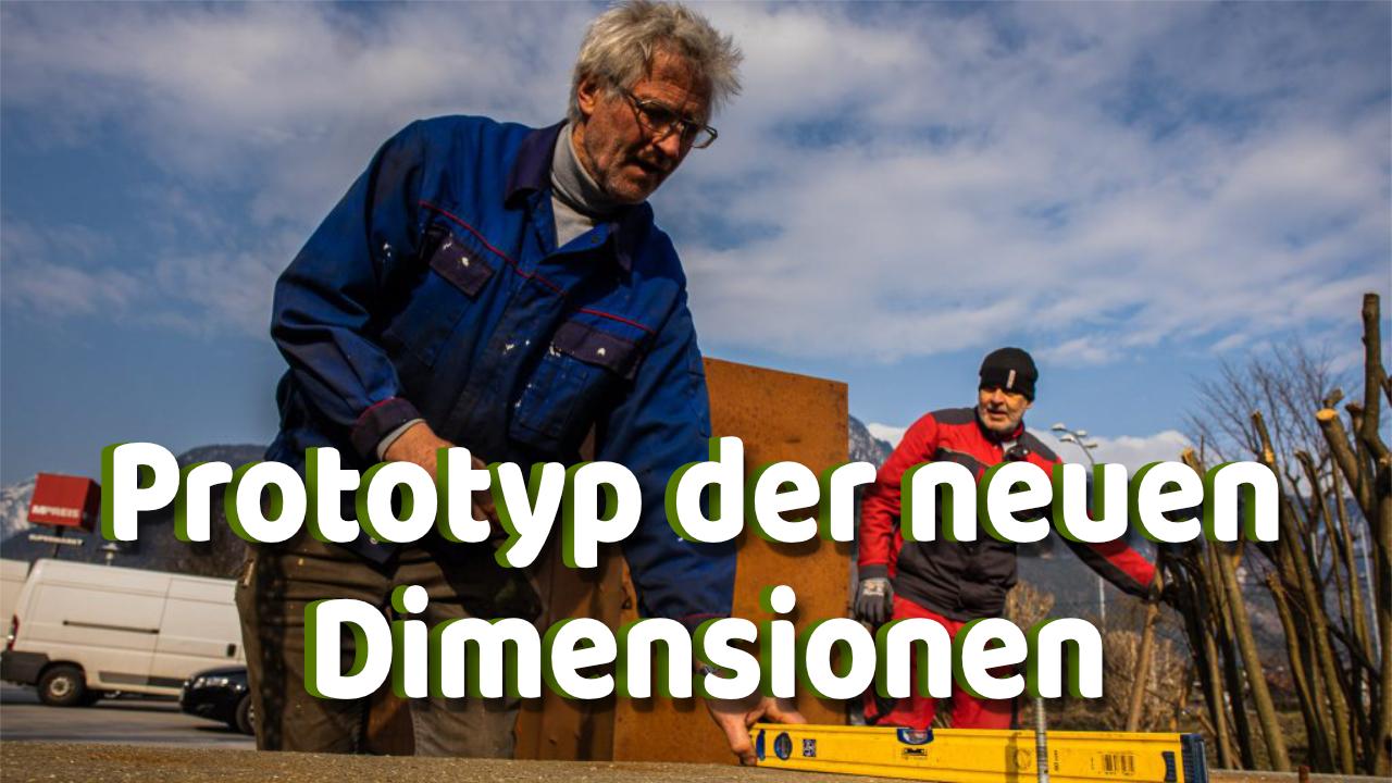 Alois Schild aus Tirol stellt neue Skulptur auf Interview