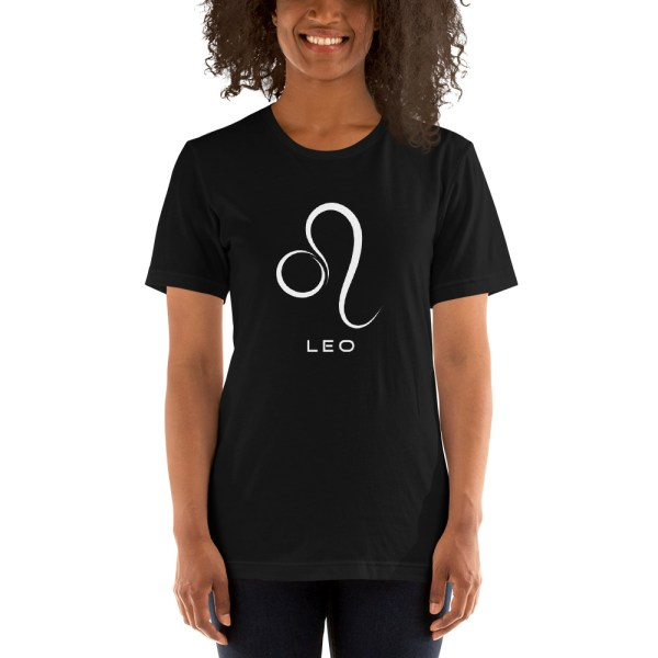 Sci-fi zodiac unisex black t-shirt Leo on model
