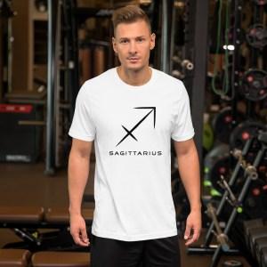 Sci-fi zodiac unisex white t-shirt Sagittarius on model