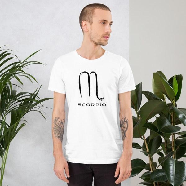 Sci-fi zodiac unisex white t-shirt Scorpio on model