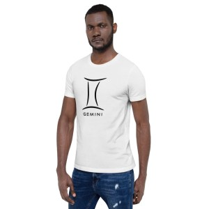 Sci-fi zodiac unisex white t-shirt Gemini on model
