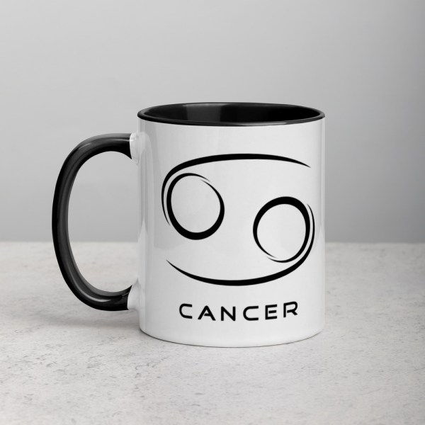 Sci-fi zodiac collection white and black color accent coffee mug left side with Cancer symbol