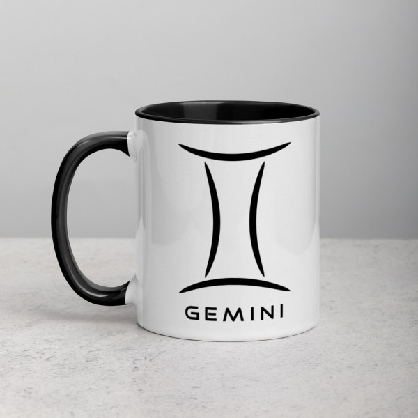 Sci-fi zodiac collection white and black color accent coffee mug left side with Gemini symbol