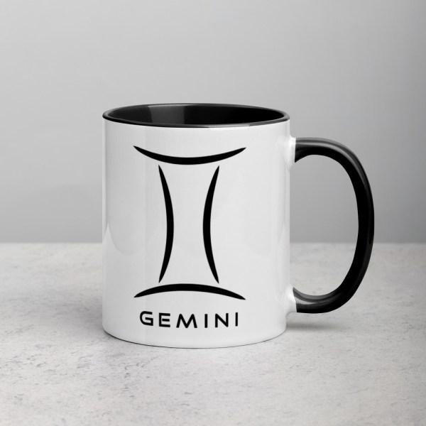 Sci-fi zodiac collection white and black color accent coffee mug right side with Gemini symbol