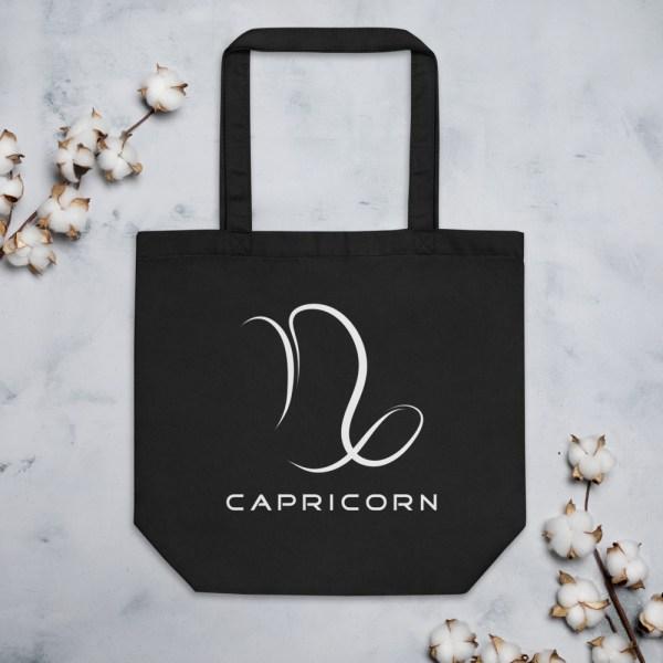 Sci-fi zodiac collection Capricorn eco tote bag certified organic tag
