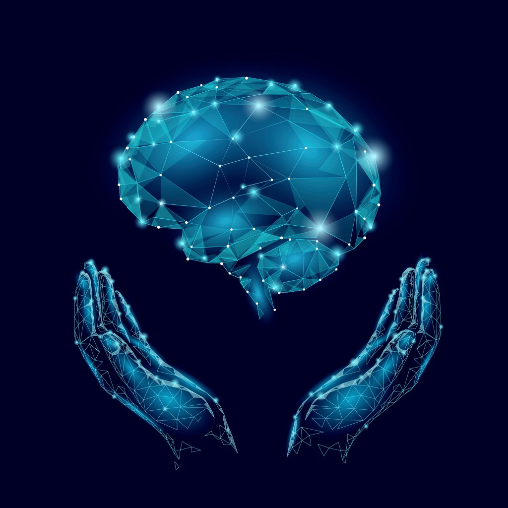 Wired brain connections floating above hands