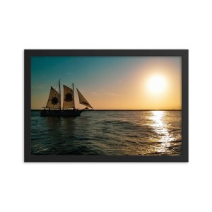 """""""Ship of the Florida Seas"""" 12x18 framed poster print with black frame"""