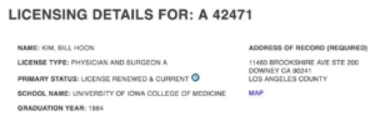 Bill Hoon Kim Medical License