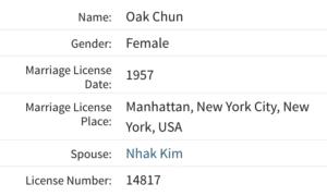 Oak Chun marriage license
