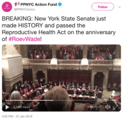 PPNY celebrating New York abortion bill passed