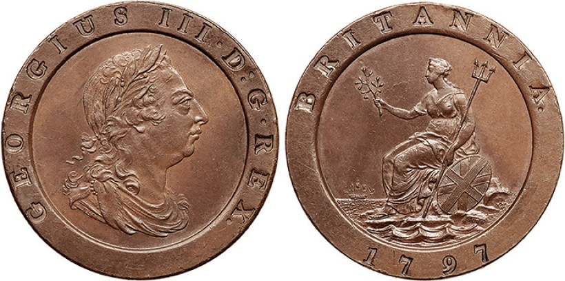 Cartwheel Penny of George III - Portrait of George III / Britannia seated on a Mount