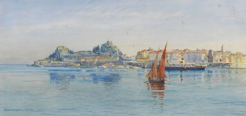 Tristram Ellis - View of the Old Fortress and Mouragia from the Sea