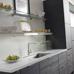 White Kitchen Sink Semi Custom Cabinets - Dupont™ Corian® Solid Surfaces,