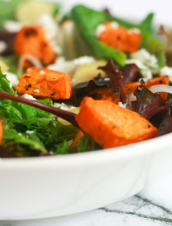 Roasted Sweet Potatoes Salad With Honey Mustard Dressing