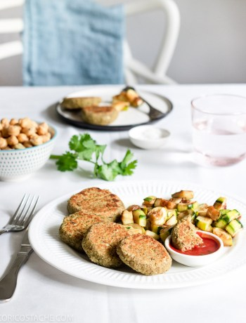 Chickpea Fritters, Zucchini & Tomato Sauce Dip