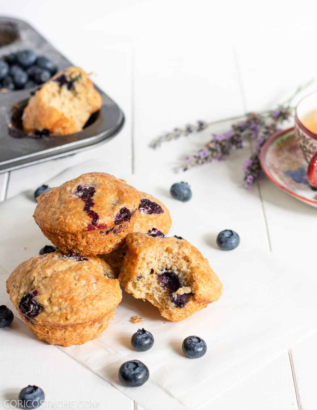 blueberry muffins food photography