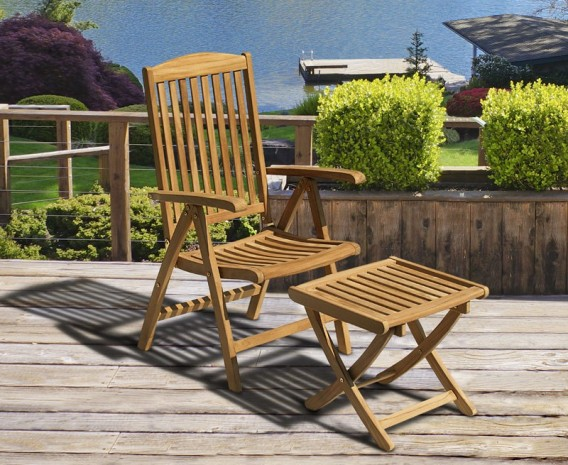 outdoor recliner chairs uk office chair garden reclining corido cheltenham teak armchair separate footstool