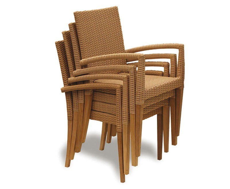 St Tropez Extending Teak Table and 8 Rattan Stacking