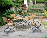 Garden Teak Bistro Table and 4 Chairs - Round Garden ...