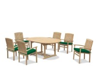 Brompton Extendable Dining Table Set with Bali Stacking Chairs