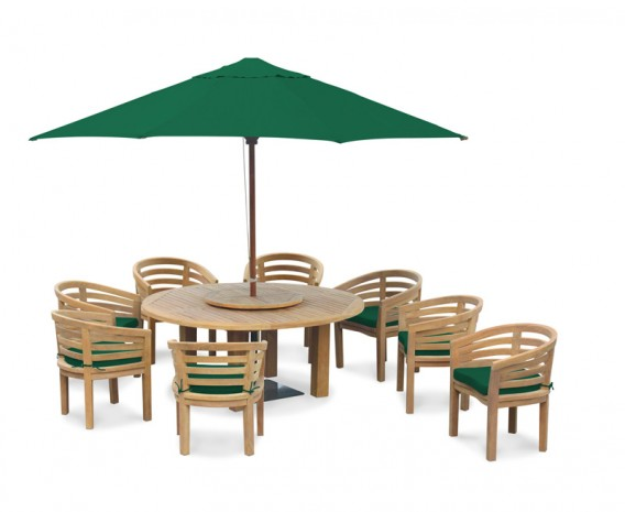 teak 8 seater patio furniture set titan round 1 8m table with kensington banana chairs