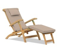 Halo Teak Steamer Chair with Cushion & Brass Fittings