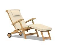 Halo Teak Steamer Chair with Cushion, Wheels & Brass Fittings