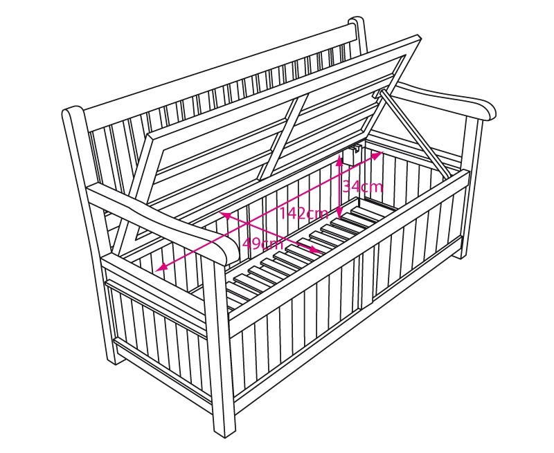 Windsor Teak 5ft Garden Storage Bench with Arms