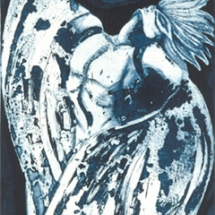 "Berlin's Angel — etching — 5"" x 15.5"" — 2002 — $ 350"