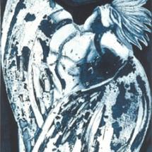 "Berlin's Angel — etching — 5"" x 15.5"" — 2002 — $ 350"