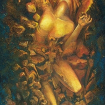 "Elemental Man — Oil and bee wax on linen — 24"" x 72"" — 1999 — $6,000 Man"