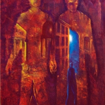 "Encounter — Oil & bee wax on linen — 20"" x 24"" — 2001 — $3,000"
