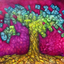 "Selfies Tree — 30"" x 22"" Graphite & oil on paper 2016 $500"