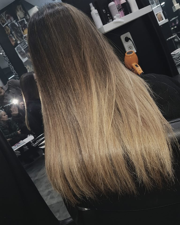 Ombr hair en chtain blond soleil coiffeur pour femme Paris