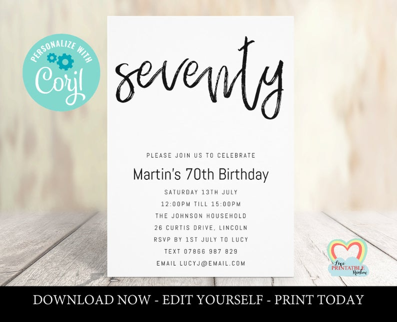 70th birthday invitations template