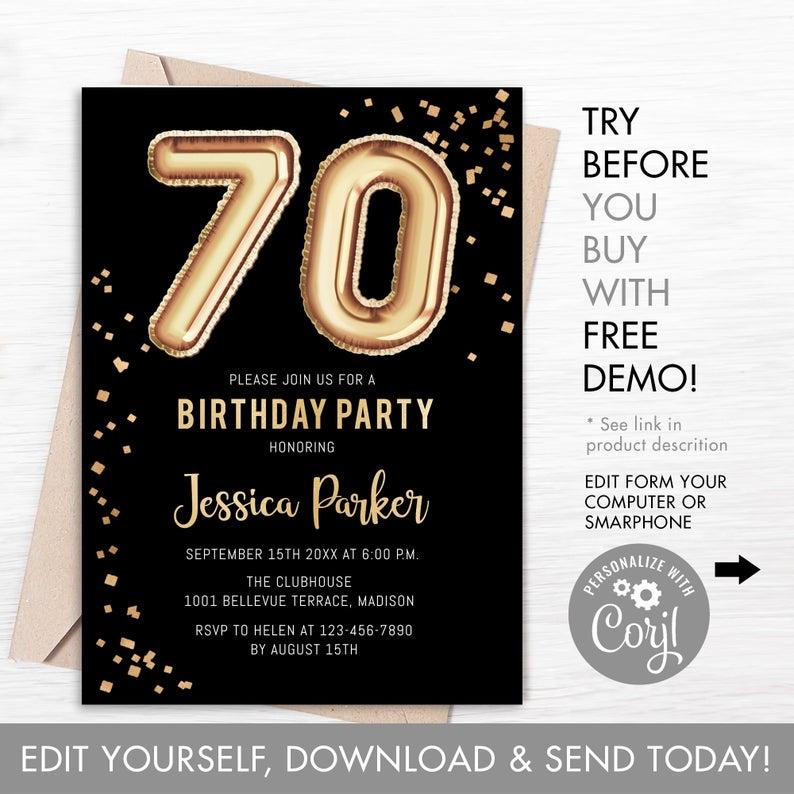 70th birthday invitations template